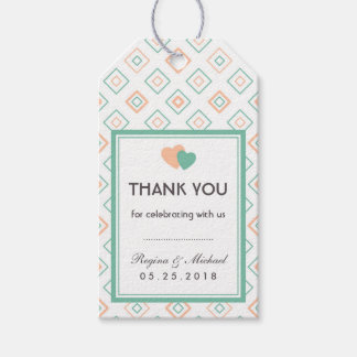 Geometric Diamond Tiles Pattern Wedding Gift Tag