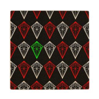 Geometric Diamonds Pattern Wood Coaster