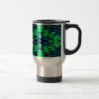 Geometric Diffraction Green and Blue Trippy Waves Stainless Steel Travel Mug
