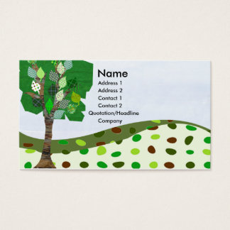 Geometric Digital Quilted Landscape Craft Cute Business Card
