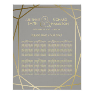 Geometric | Dove Grey and Gold Seating Chart