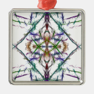 Geometric drawing on white background metal ornament