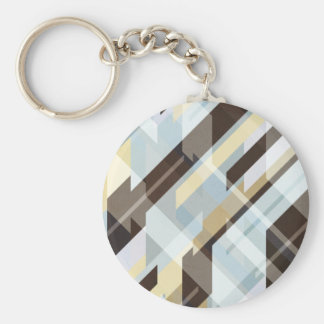 Geometric Earth Tones Abstract Key Ring