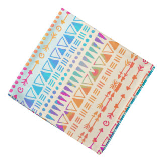 Geometric Ethnic Bohemian Colorful Hand Printed Head Kerchiefs