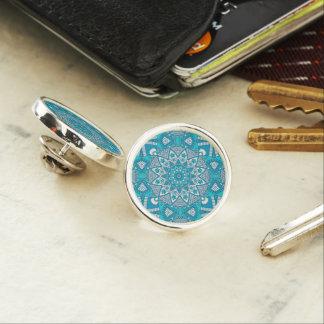 Geometric Ethnic Bohemian Lotus Blue Color Pattern Lapel Pin