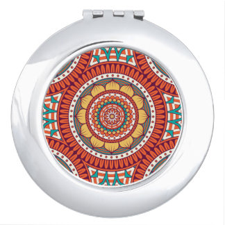 Geometric Ethnic Bohemian Lotus Red Color Pattern Mirror For Makeup