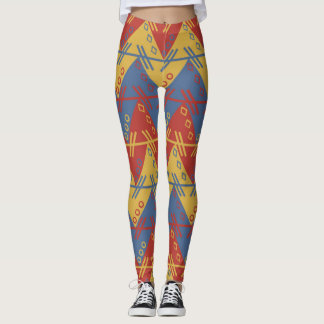 Geometric Expressionism colorful Pattern Leggings