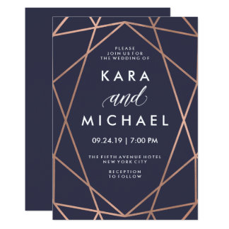 Geometric Faux Rose Gold on Midnight Blue Wedding 13 Cm X 18 Cm Invitation Card