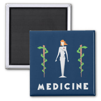 Geometric Female Medicine Square Magnet