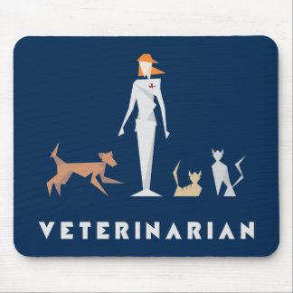 Geometric Female Veterinarian Mouse Pad