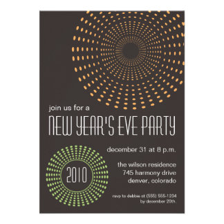 Geometric Fireworks New Years Party Invitations