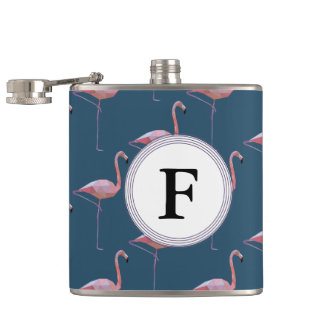 Geometric Flamingo Print Customisable Initial Hip Flask