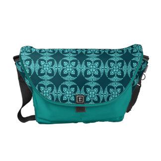Geometric Floral in Aqua Shades Messenger Bag
