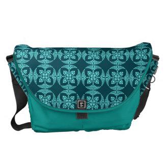 Geometric Floral in Aqua Shades Courier Bag