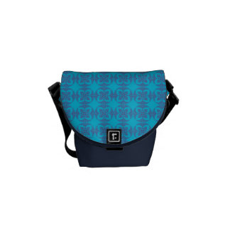 Geometric Floral in Bright Blue Messenger Bags