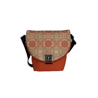 Geometric Floral in Melon Courier Bag
