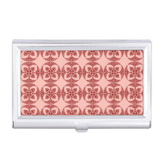 Geometric Floral in Peach and Red Business Card Holders