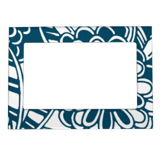 Geometric Floral Pattern in Graphic Bold Blue Magnetic Frame