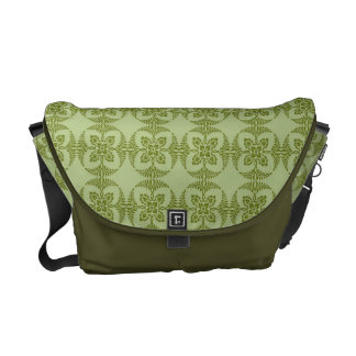 Geometric Floral Pattern in Green Courier Bags
