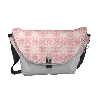 Geometric Floral Pattern in Pink and Cream Courier Bags