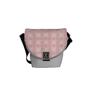 Geometric Floral Pattern in Pink and Cream Messenger Bag