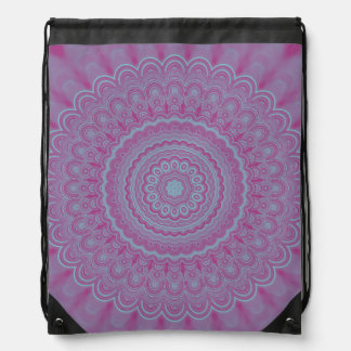 Geometric flower mandala drawstring bag
