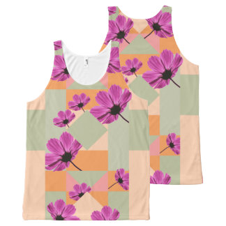 Geometric Flowers All-Over Print Singlet