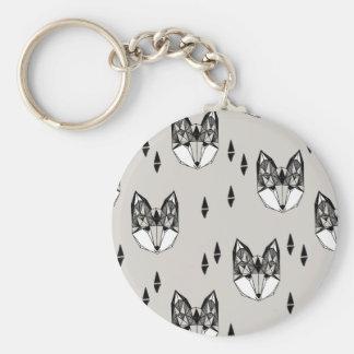 Geometric Fox Head Woodland Animal / Andrea Lauren Basic Round Button Key Ring