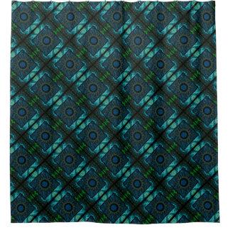 Geometric & Fractal Blue & Green Design Shower Curtain
