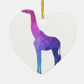 Geometric Giraffe with Vibrant Colors Gift Idea Ceramic Heart Decoration