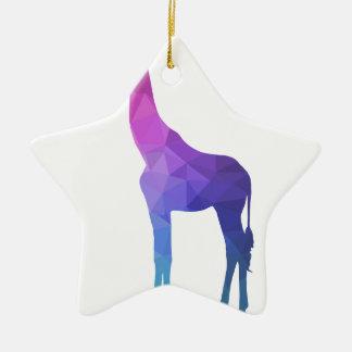 Geometric Giraffe with Vibrant Colors Gift Idea Ceramic Star Decoration