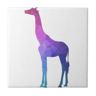 Geometric Giraffe with Vibrant Colors Gift Idea Ceramic Tile