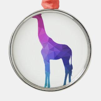 Geometric Giraffe with Vibrant Colors Gift Idea Silver-Colored Round Decoration