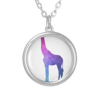 Geometric Giraffe with Vibrant Colors Gift Idea Silver Plated Necklace