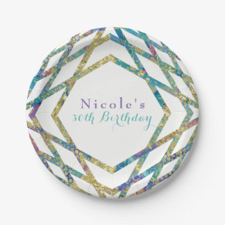 Geometric Glam Colors & Gold Custom Chic Party Paper Plate