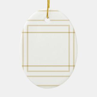 Geometric Gold Concentric Squares Ceramic Ornament