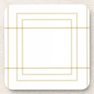 Geometric Gold Concentric Squares Coaster
