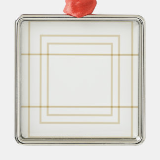 Geometric Gold Concentric Squares Metal Ornament