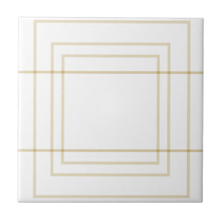Geometric Gold Concentric Squares Tile