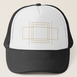 Geometric Gold Concentric Squares Trucker Hat
