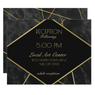 Geometric Gold Lines and Marble Reception Card