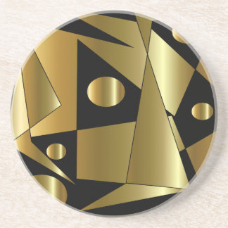 Geometric Gold on Black Coaster