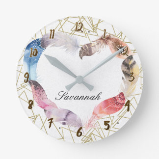 Geometric Gold Shape & Boho Feather Heart Custom Round Clock