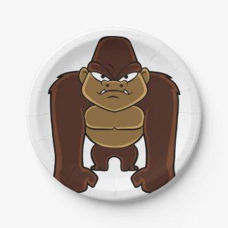 geometric gorilla.cartoon gorilla 7 inch paper plate