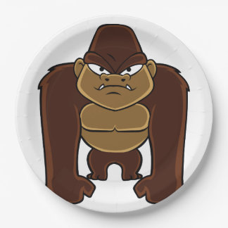 geometric gorilla.cartoon gorilla 9 inch paper plate