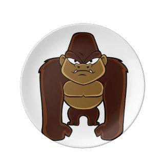 geometric gorilla.cartoon gorilla porcelain plates