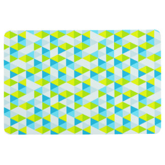 Geometric Green and Blue Triangles Modern Pattern Floor Mat
