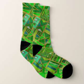 Geometric  Green and Gold African Tribal Pattern 1