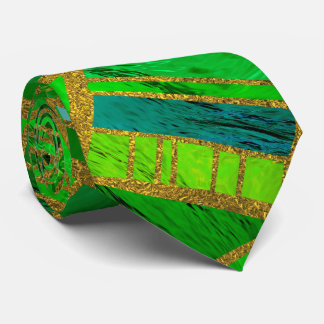 Geometric  Green and Gold African Tribal Pattern Tie