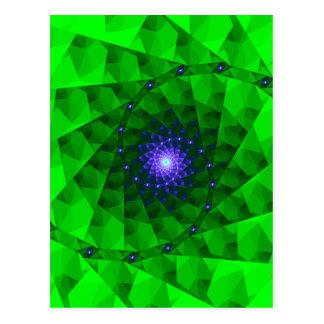 Geometric Green Fractal Postcard